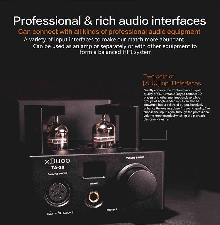 XDUOO TA-20 12AU7 HIFI AUDIO High Performance Balanced Tube Headphone amplifier