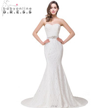 Buy Romantic Lace Shoulder Mermaid Wedding Dresses Beaded Sahsh 2017 Elegant Wedding Gown robe de mariage vestidos de noiva for $107.87 in AliExpress store