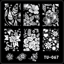 1pc Beauty Flower Styles Image Polish Printing Nail Stamping Plates Nail Art Templates Stencils Manicure Styling Tools TU-067