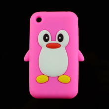 HOT present Cute 3D Penguin Soft Silicone Rubber Skin Case back Cover for Apple iPhone 3G 3Gs