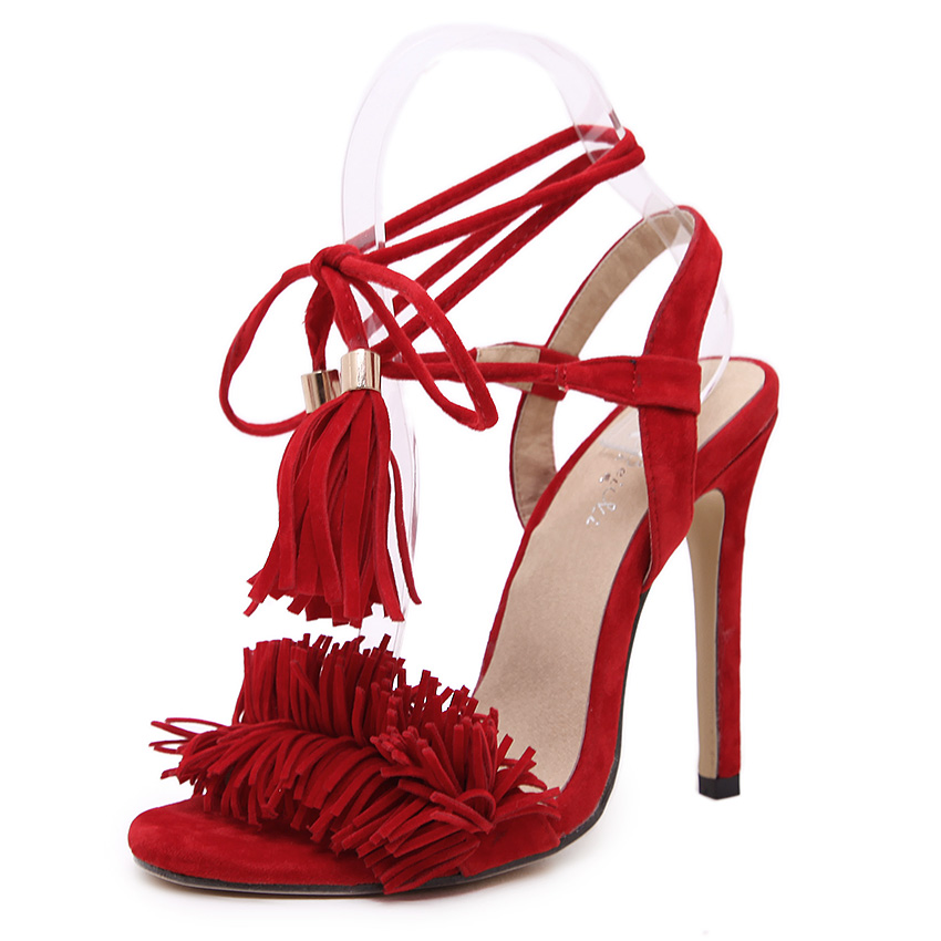 2017 Fashion Women Sandals Tassel Designer Peep Toe High Heels Shoes Women Party Shoes Woman Ladies Open Toe Lace up Sandals<br><br>Aliexpress