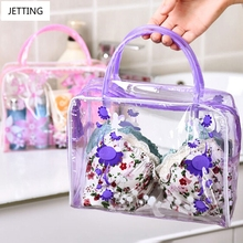 Transparent Floral Waterproof PVC Cosmetic Bag Envelope Receive Toiletry Bags Skin Care Makeup Bag Organizer 5 Colors To Choose(China)