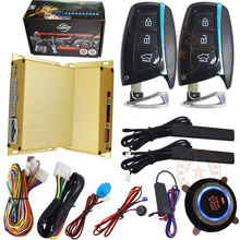 NEW smart key car alarm system working with chip key bypass module shock sensor alarm or side door alarm protection