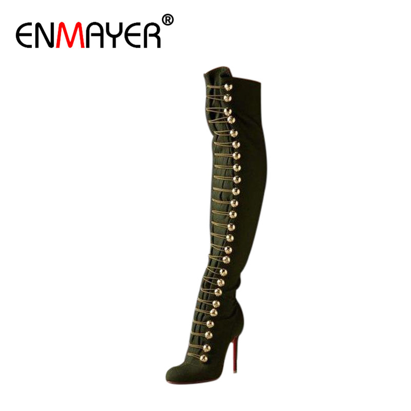 ENMAYER Genuine Leather Shoes Woman Over-the-knee High Heels Boots Plus Size 34-46 Platform Shoes Cross-tied Motorcycle Boots<br><br>Aliexpress