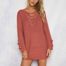 Women Lace Up Flat Knitted Sweater Casual Long Sleeve V-Neck Pullover Loose Tops New