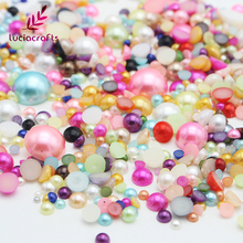 Lucia Crafts Size(2-12MM) Assorted Half Round Flatback AB Pearls Beads Nail Bags Garment DIY Accessories 15010007(2-12HS25g)