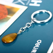 Tiger Eye Wather Drop Agate Pendant Keychain Jewelry Charm Nature Stone Fashion Keyring Quartz Party Dress Turquoise