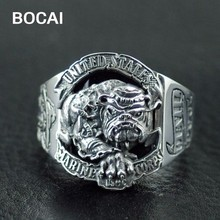 925 Sterling Silver Bulldog logo the United States Marine Corps rings