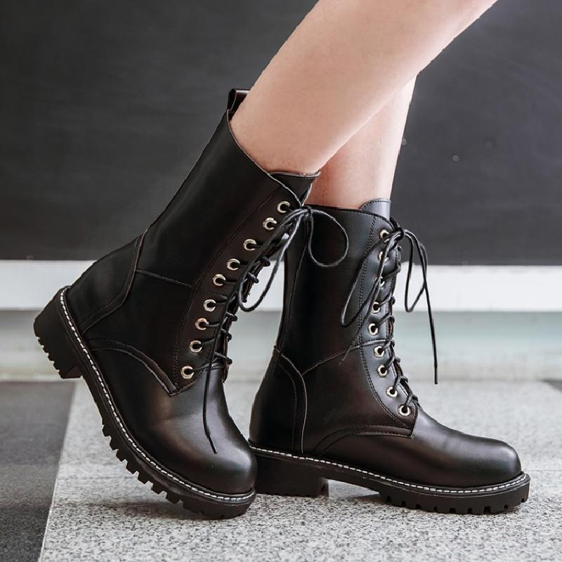 ankle boots for women winter boots women motorcycle boots low heel big size shoes woman white female fashion lace-up boots &amp;88-2<br>