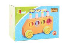 Baby Brand wooden funny pop up bus for car toys / Kids Child toy vehicles for baby girl boy with lovely smile dolls