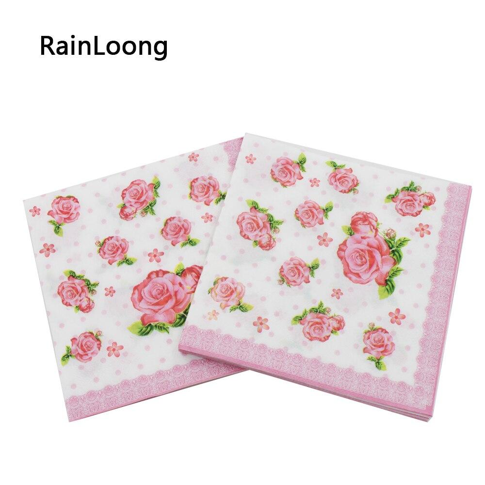 [Rainloong] розовый цветок Бумага салфетки Мероприятия и вечеринки ткани Декупажный поставка 3333 см 20 шт./упак./лот(China (Mainland))