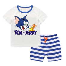 2017 Baby Boys Clothing Set 2 Pcs Kids Clothes Cartoon Cat and Mouse Cute Boy Suit Fashion New Boy's Summer t shirt+pants T6026