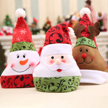 3 Pattern Unisex Adult Xmas Red Cap Santa Novelty Hat for Christmas Party Santa Claus Snowman Elk Christmas Hats 28*35cm(China)