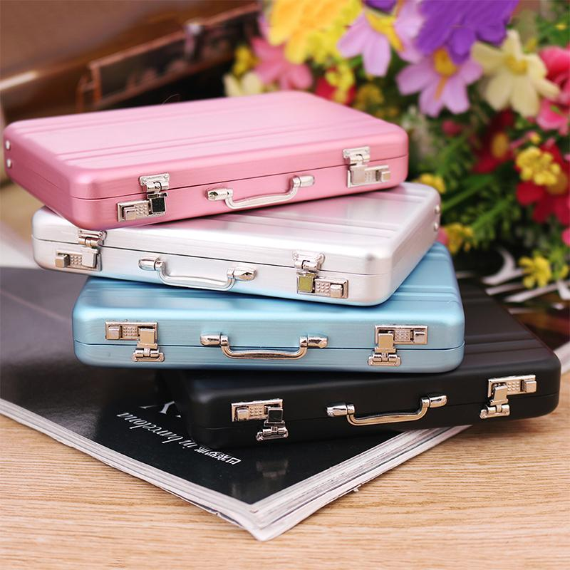 1 PC New Fashion Metal Mini Suitcase Business Card Name Card Holder Case Box 4 Colors Pink Black Blue New Arrival(China (Mainland))