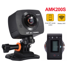 AMKOV AMK200S Dual Lens 360*360 panorama camera HD 960P Wi-fi action camera support VR Youtube Sharing 360 camera free delivery