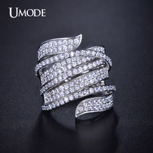 UMODE Vivid Ring Unique Shaped White Gold Color CZ  Full Paved Cocktail Rings for Womens Fashion jewellery Party Rings UR0205