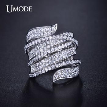Umode vivid anillo único en forma de oro blanco plateado cz completa pavimentada anillos de cóctel para mujer bisutería anillos partido ur0205