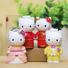 4pcs Hello Kitty Fairy Tale Garden Miniatures Terrarium Figurines Resin Bonsai Tool Jardin Gnomes Dollhouse Wedding Cake Toppers