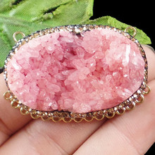 1Pcs Wrapped Red Titanium Crystal Agates Druzy Quartz Geode Stone Pave Crystal Oval Pendant Bead H06273(Received As Picture)