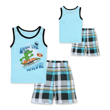 2016 Summer New Arrived Boys Sport Suit Fashion Pattern Children Clothing Set Vest + Grid Shorts Tracksuit Size 90-130