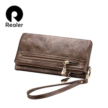 REALER brand new design women wallet long high quality female clutch zipper wallets big capacity purse cellphone bag pocket