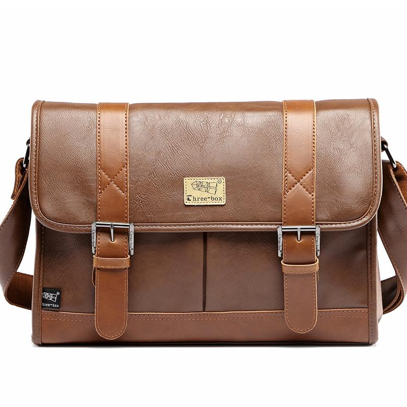 three-box Casual Vintage Men Shoulder Crossbody Bags Solid Laptop Men Leather Handbag Fashion Men Messenger Bags 3540<br>