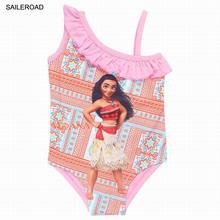 SAILEROAD Cartoon Moana Girls Dresses Swimsuits Summer New Baby Kids One Piece Swim Wear Clothing Kids Bathing Suit 3-9Years