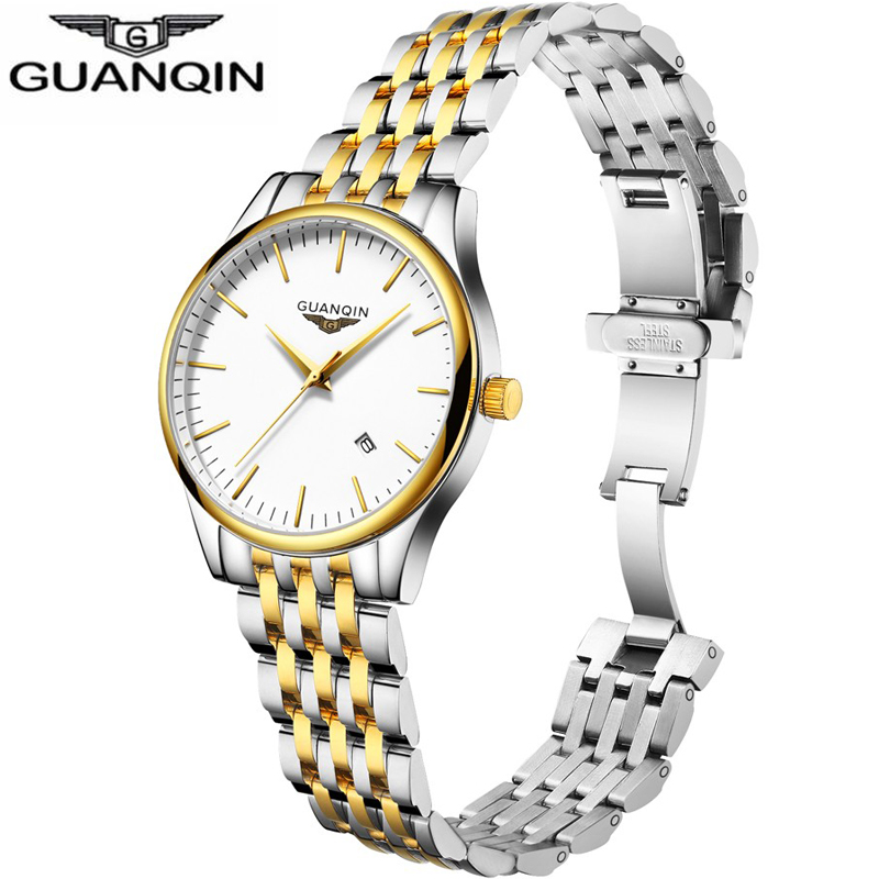 Mens Watches Top Brand Luxury GUANQIN Business Men Fashion Stainless Steel Wristwatch Waterproof Quartz Watch Relogio Masculino<br>