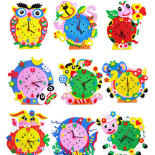 1 Set DIY 3D Handmade EVA Cartoon Animals Clock Puzzles Arts Crafts Kits Baby Educational Kids Toys for Children Birthday Gifts(China)
