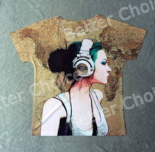 Track Ship + New Vintage Retro Rock&Roll Punk T-shirt Top Tee Quiet Fashion Girl Like Listen to Music 0005(Hong Kong)