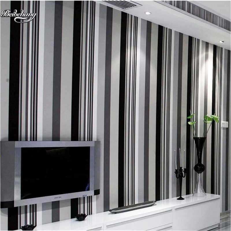 beibehang Modern simple black and white gray vertical striped wallpaper bedroom living room TV background wallpaper<br>
