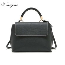 VESNAZIMA small messenger bag for women PU leather black ladie's top-handle handbags for girl solid crossbody bag VZ183ZN mujer