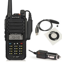 Baofeng GT-3WP IP67 Waterproof Dual-Band 2M/70cm Ham Two-way Radio Walkie Talkie with Programming Cable CD Car Charge Cable(China)