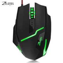 ZELOTES 2017 Universal 7200 DPI LED light Optical Wired Mouse Mice Professional Gaming Mouse Gamer For PC Laptop Computer(China)