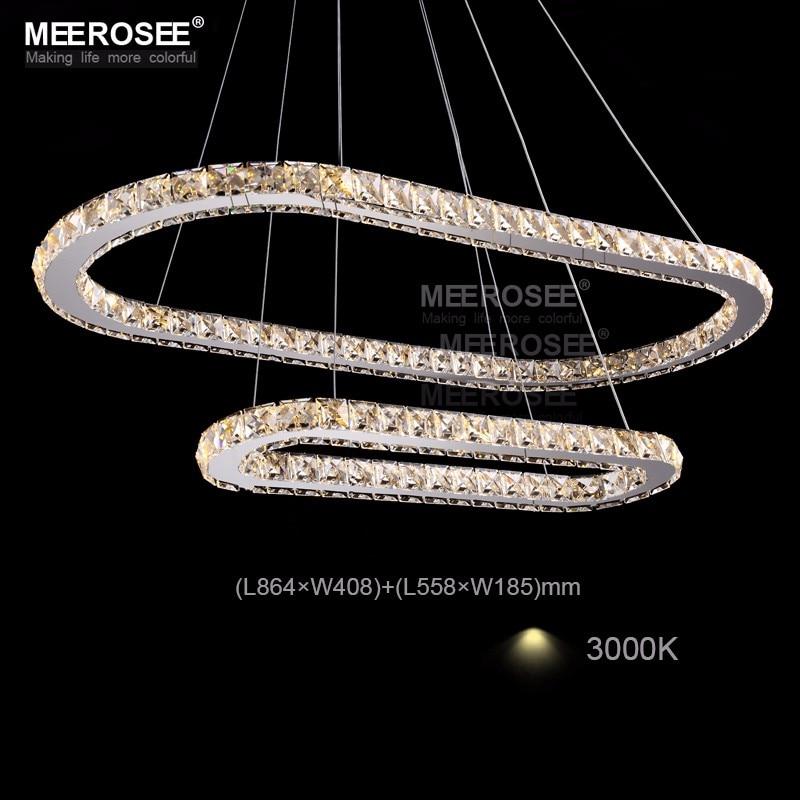 K9 Crystal LED Pendant Lights Silver Steel Kitchen Lighting Pendants Round Ring Lustre Dining Room Suspended Lamp
