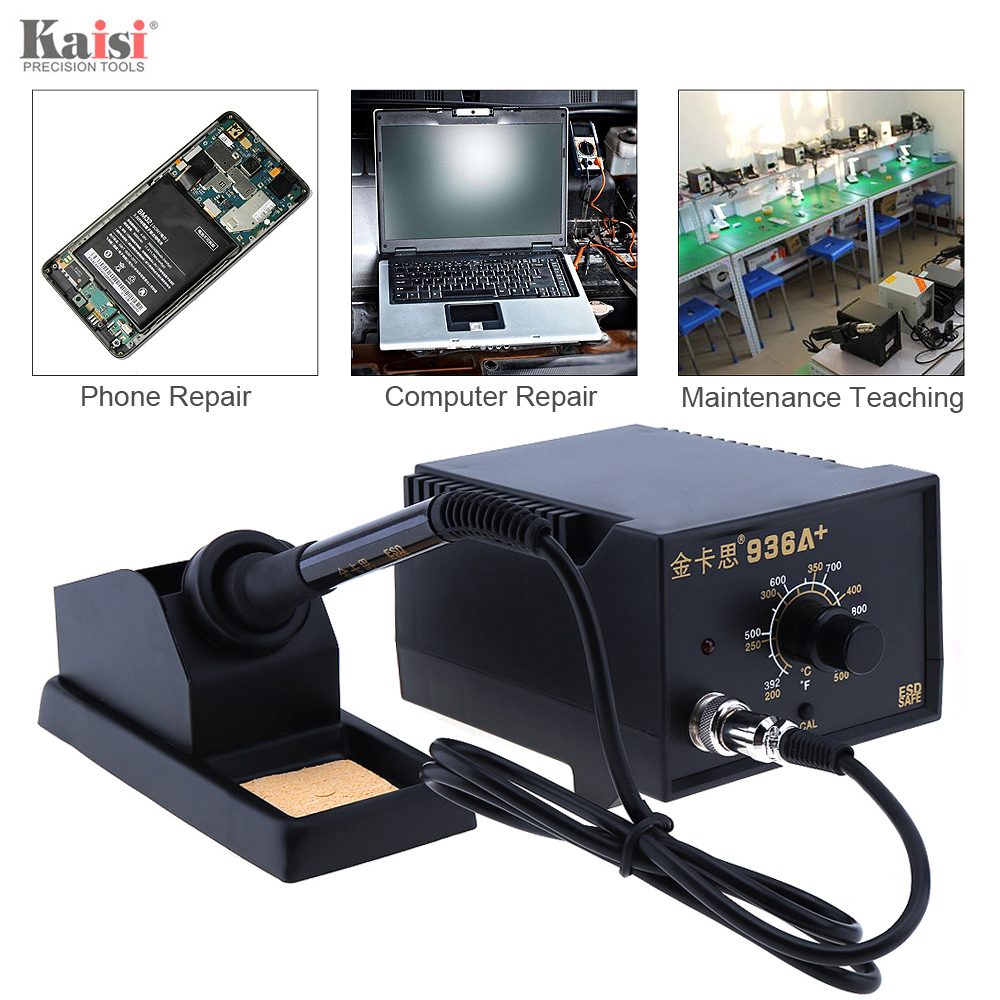 Kaisi 936A+ 220V 60W Adjustable Constant Temperature Soldering Station Soldering Iron with Holder for Electronic Products<br>