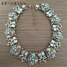 PPG&PGG Women Fashion Crystal Jewelry Charm Choker Chunky Statement Bib Collar Necklace