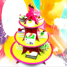 new style 3 Tier Cake Stand yellow Polka Dot Red edge Paper Cupcake Stand For Girls Baby Shower Wedding Birthday Party Supplies