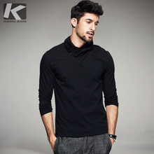 2017 Spring Mens Casual T Shirts Solid Turtleneck Brand Clothing Long Sleeve For Man's Slim Clothes Male Wear T-Shirts Tops Tees(China)