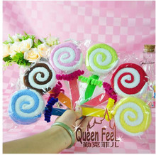 10 pieces 20*20cm candy color fiber cute lollipop towel cake gift baby shower birthday favor party lovely gifts