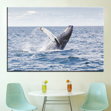 Large size Printing Oil Painting Dolphins swim Wall painting POP Art Wall Art Picture For Living Room painting No Frame