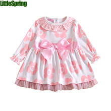 Kids Dresses For Girls Infant Cotton 2017 New Arrival Autumn Pink Baby Dress Long Sleeve Baby Girl Birthday Dress