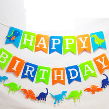 dinosaur theme party dinosaur happy birthday letter pull flag color 1st children p