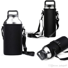 100pcs Black Water Bottle Holder Carrier Sleeve Covers with Shoulder Strap for Yeti bottle 18/36/ 64 oz for travel Walking(China)