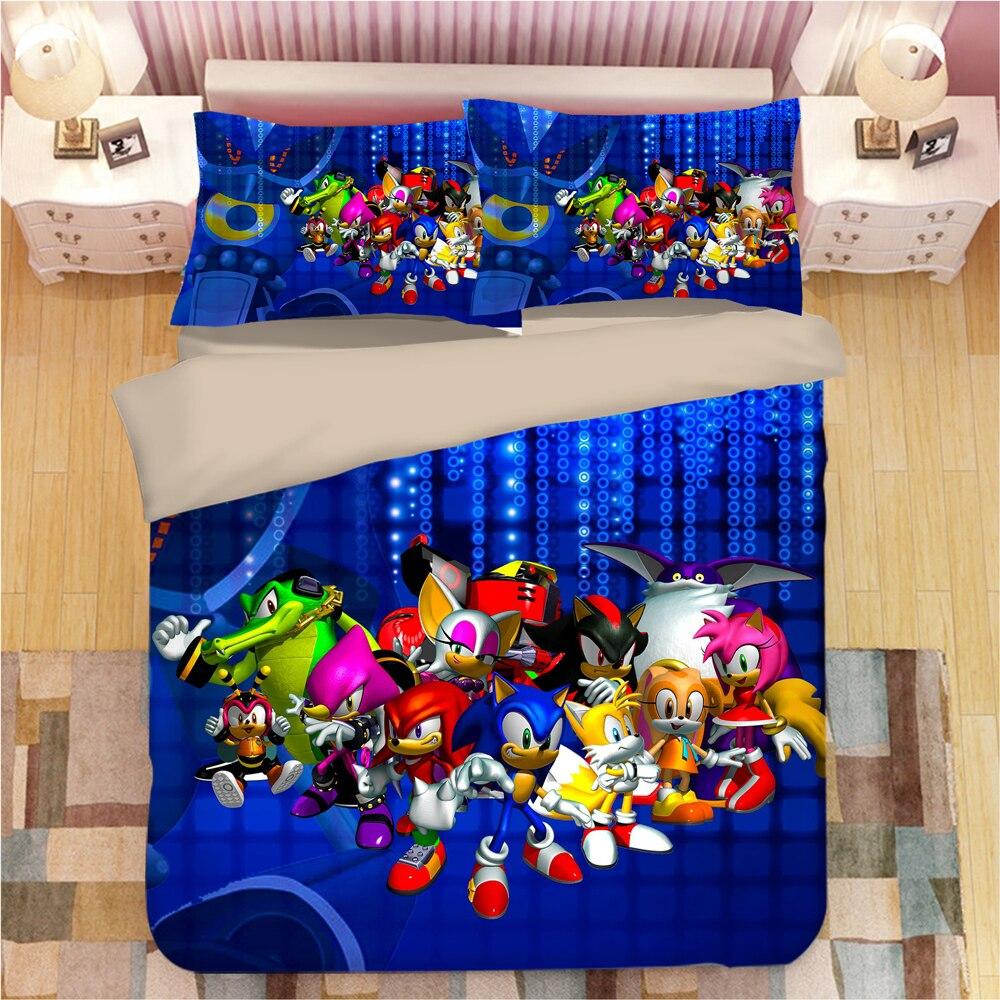 Super Mario Sonic the Hedgehog Duvet Quilt Cover Bedding Set Pillowcas Kids Boys