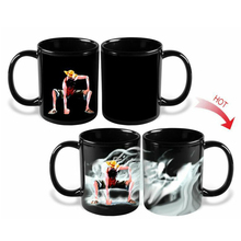 2017 Limited Real Travel Mug Caneca One Pirates Wang Lufei Discoloration Thermal Anime Ceramic Coffee Mark Milk Mugs 300ml