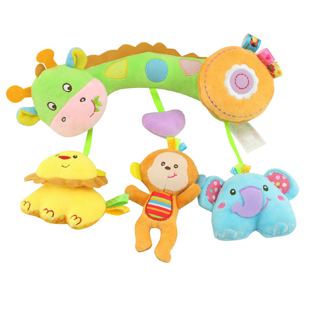 Fashion Children Plush Toys Cross Bar Type Colorful Animal Pendant Hanging Infant Bed Crib Stroller Toy Baby Kids Gifts