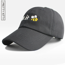 PRTTY KITTY Small bee embroidery Baseball Caps Customized Designer  Dad Hat  Baseball Hat  Cap snapback caps