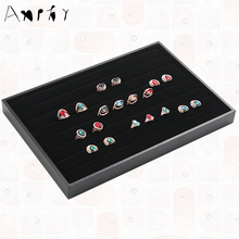 Black Rings Display Tray Jewelry Display Case Show Ring Earring Jewelry Decoration Storage Box Organizer Holder Shelf A05
