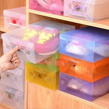 NEW Brief Clear Solid Shoes Storage Box Case Transparent Plastic Storage Boxs Rectangle Shoe Organizer Shoe Box 28x18x9.5cm